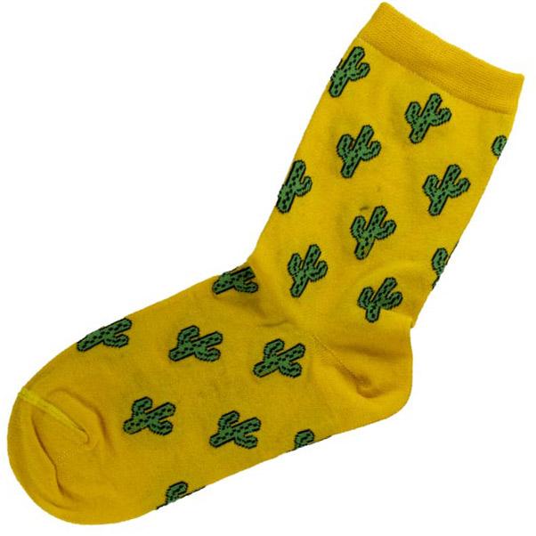 جوراب ساقدار زرد طرح کاکتوس