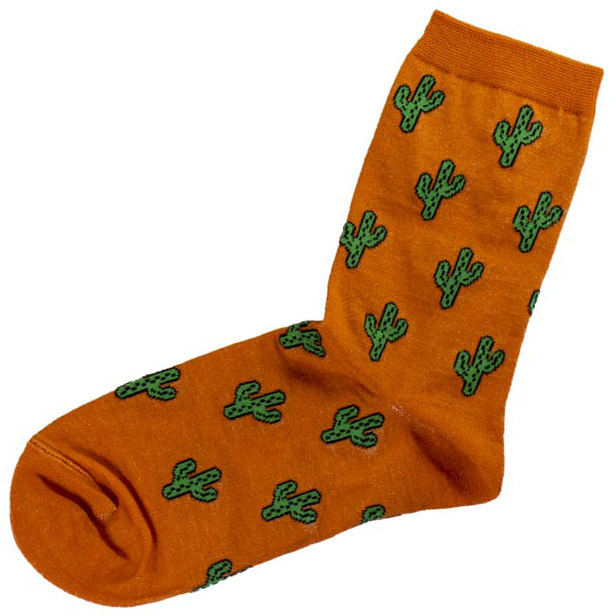 جوراب ساقدار نارنجی طرح کاکتوس