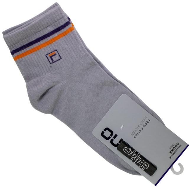 جوراب مردانه نیم ساق طوسی روشن طرح فیلا