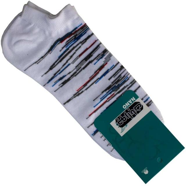 جوراب مچی مردانه سفید طرحدار