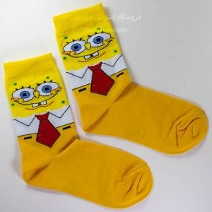 جوراب ساقدار زرد طرح باب اسفنجی