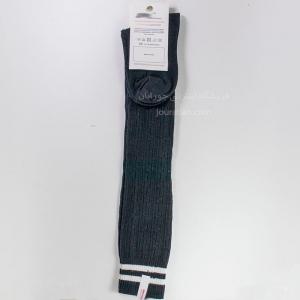 جوراب بالای زانو زخیم مشکی 2خط