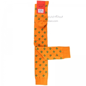 جوراب بالای زانو نارنجی طرح کاکتوس