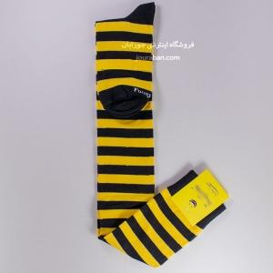 جوراب بالای زانو طرح زنبوری زرد مشکی