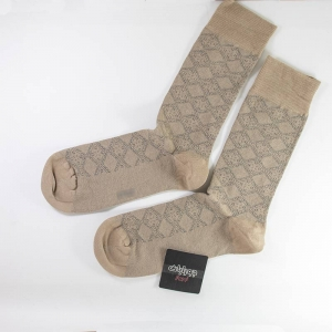جوراب نخی طرحدار رنگ نخودی