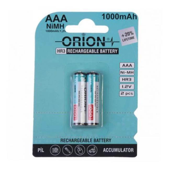 باتری نیم قلمی قابل شارژ اوریون مدل HR3-1000 بسته دو عددی