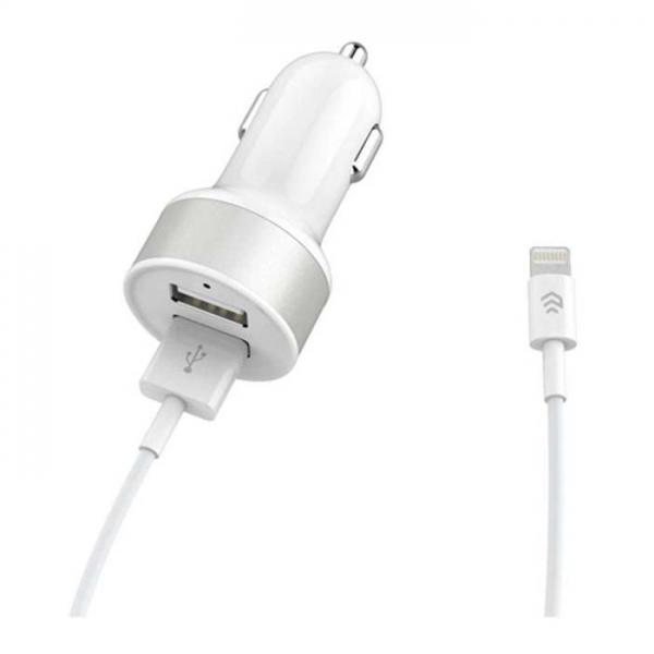 شارژر فندکی دیویا مدل Smart Dual USB همراه با کابل لایتنینگ