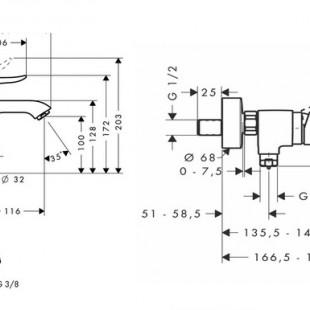 ست شیرآلات هانس گروهه مدل METRIS مجموعه 3 عددی