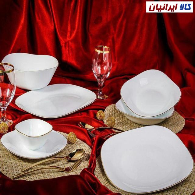 سرویس غذاخوری لب طلایی مربعی 26 پارچه ایروپال
