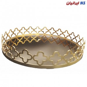 سینی کف آینهای دایرهای طلایی