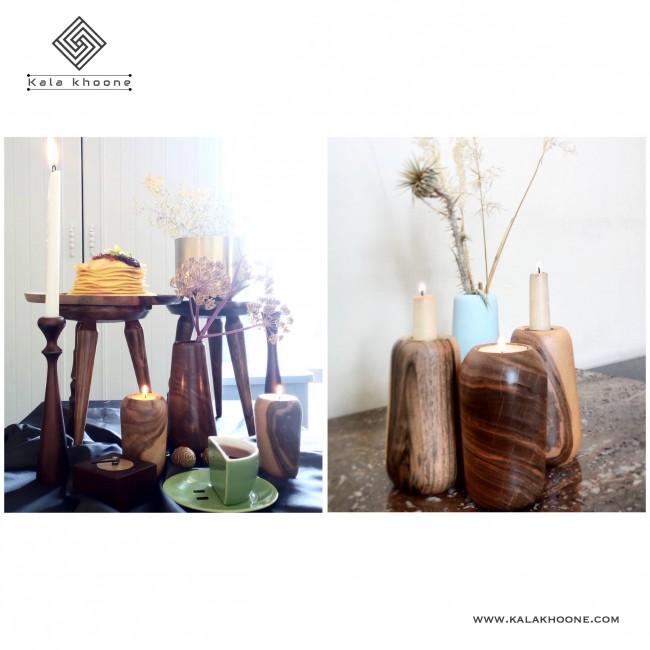 شمعدان دو طرفه چوبی