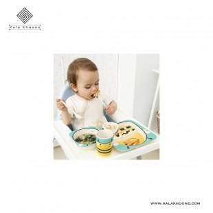 ست ۵ تکه ظرف غذا بامبو کودک