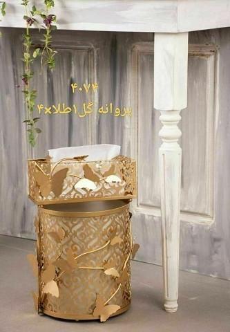 ست سطل و جا دستمال کاغذی ریور طرح گل و پروانه 1