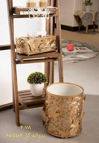 ست سطل و جا دستمال کاغذی ریور طرح گل و پروانه 3
