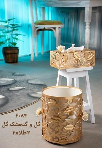 ست سطل و جا دستمال کاغذی ریور طرح گل و گنجشک 3
