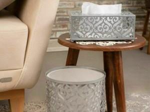 ست سطل و جا دستمال کاغذی ریور مدل گل 1