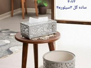 ست سطل و جا دستمال کاغذی ریور مدل گل 3