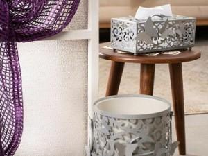 ست سطل و جا دستمال کاغذی ریور طرح پروانه و گل 3