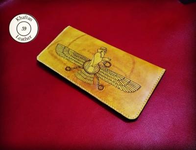 کیف چرم سوخته نگاری و دوخته شده با دست