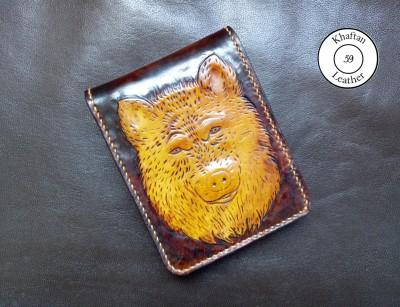 کیف پول حکاکی شده طرح گرگ