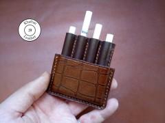 کیف سیگار چرم طبیعی ظرفیت چهار نخ طرح کروکودیل