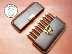 کیف سیگار چرم طبیعی ظرفیت هشت نخ دارای قفل مهماتی