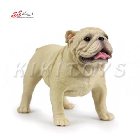 فیگور حیوانات سگ بولداگ کرمی رنگ Pet Bulldog Dog Model Animal