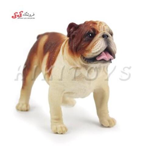 فیگور حیوانات   سگ بولداگ   کرم قهوه ای Pet Bulldog Dog Model Animal
