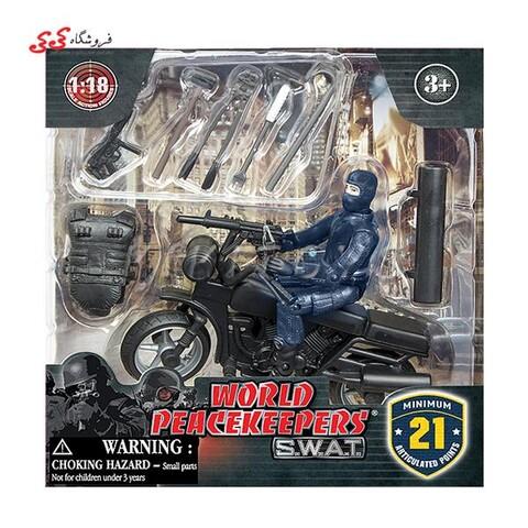 ماکت موتورسیکلت و سرباز با تجهیزات نظامی 77110D برند ام اند سی WORLD PEACEKEEPERS WITH ACCESSORIES