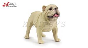 قیمت و خرید فیگور سگ بولداگ کرمی رنگ Pet Bulldog Dog Model Animal