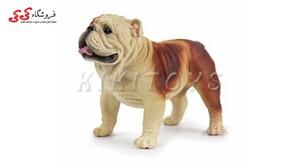 خرید اینترنتی فیگور حیوانات سگ بولداگ قهوه ای Pet Bulldog Dog Model Animal