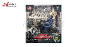 اسباب بازی ماکت موتورسیکلت و سرباز با تجهیزات نظامی برند ام اند سی