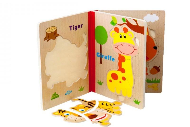 پازل چوبی قطعه درشت مدل کتاب طرح حیوانات جنگل