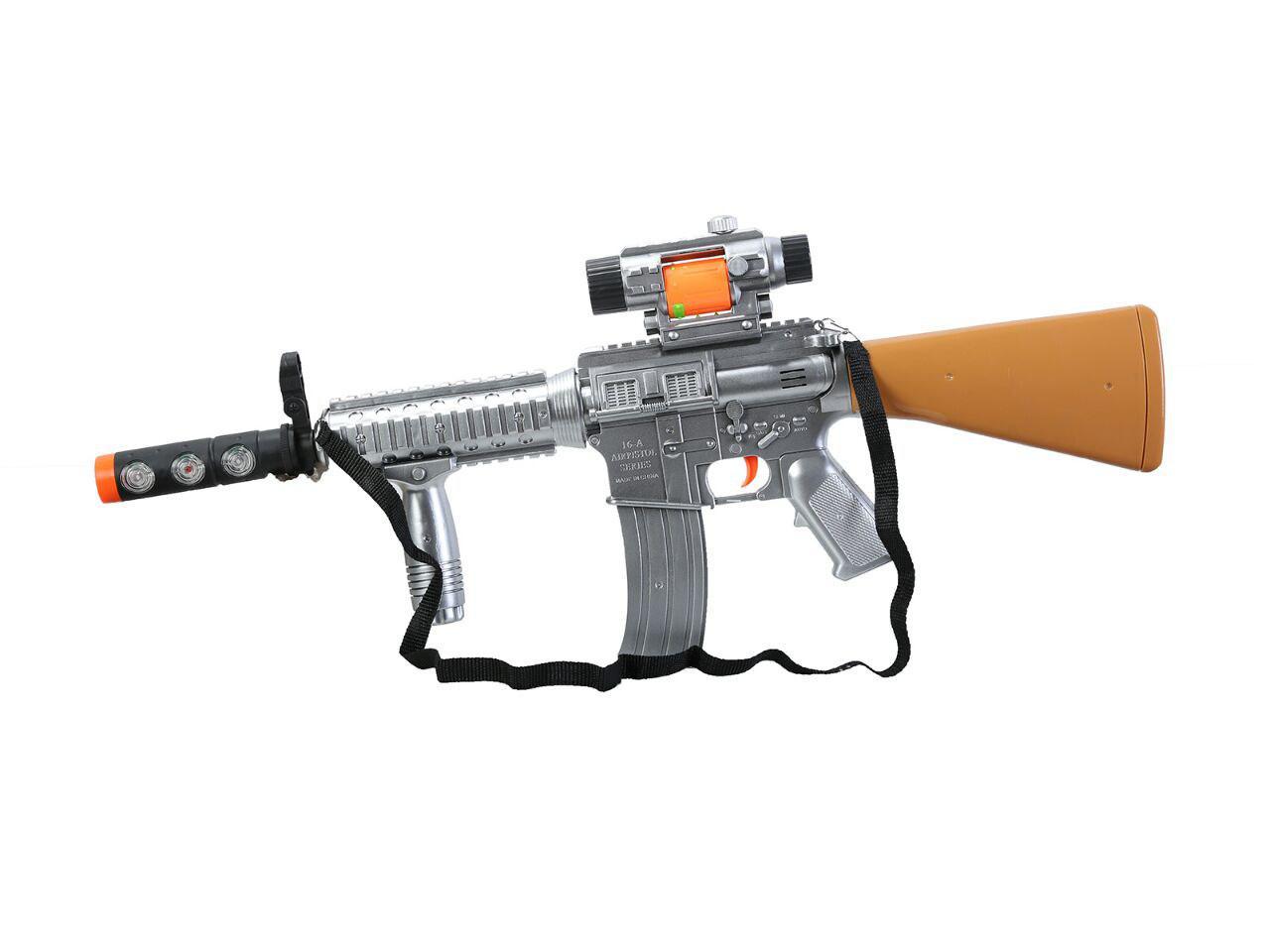 تفنگ اسباب بازی باطری خور همراه با موزیک و لرزش و چراغ