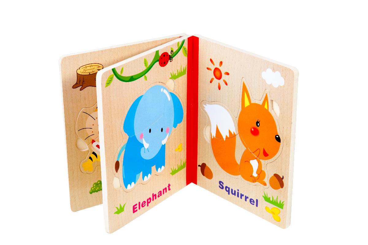 قیمت پازل شش تایی کتابی قطعه درشت بی خطر مناسب کودکدو تا سه ساله puzzle wild animals