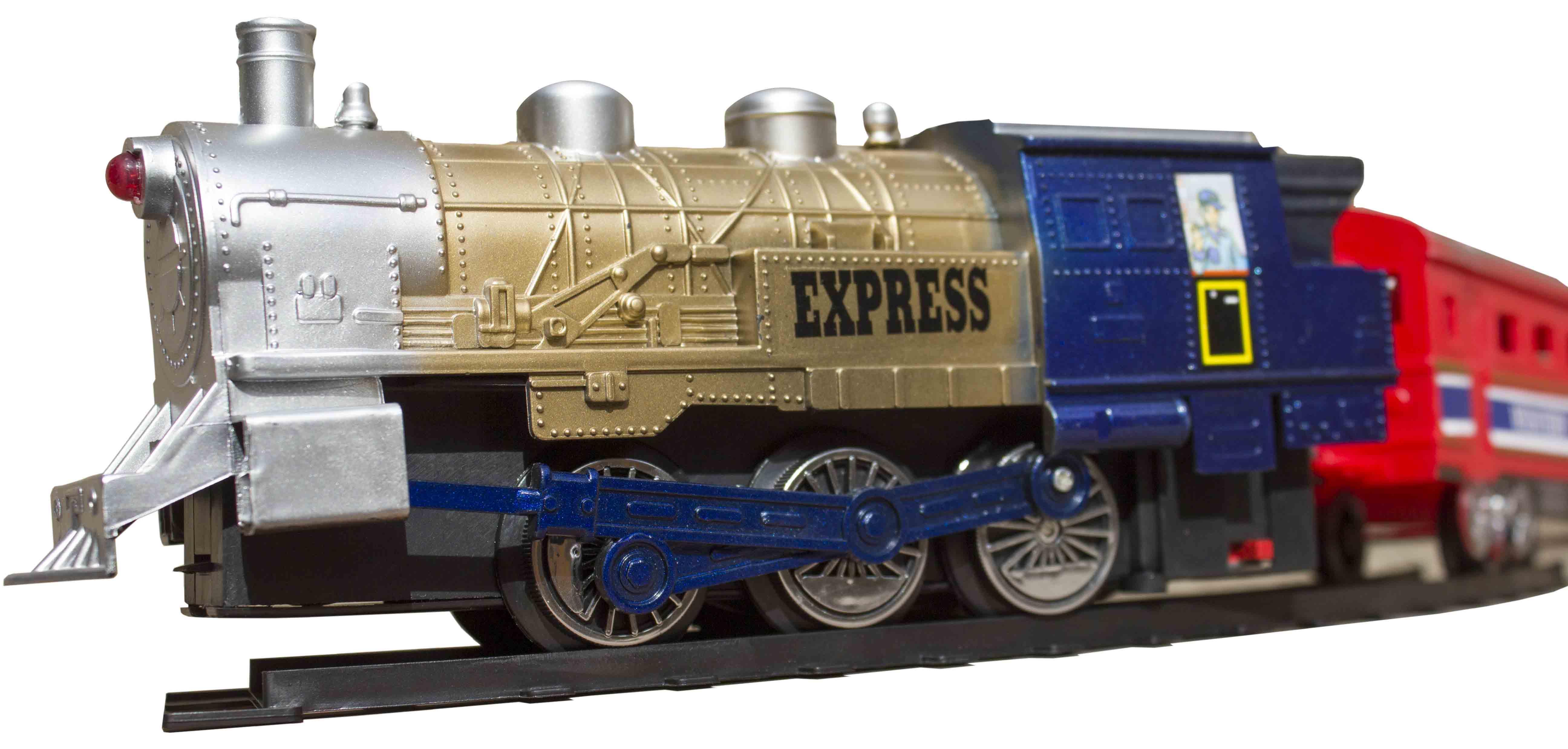 قطار همراه با واگن و ایستگاه اسباب بازی
