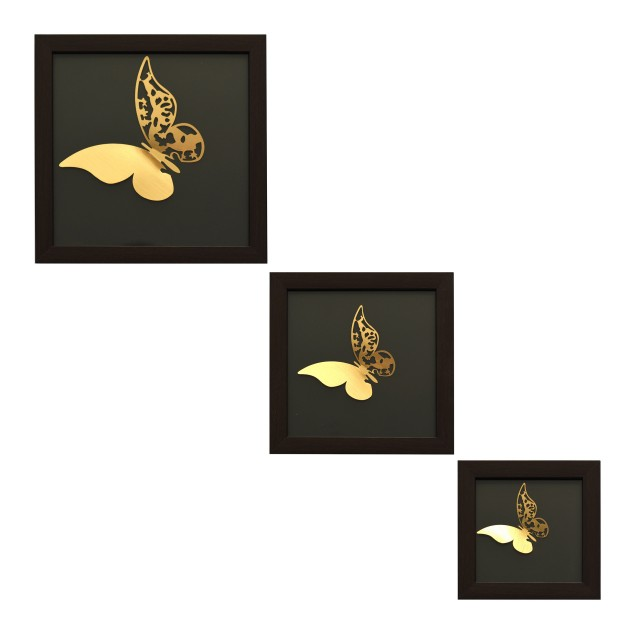 تابلو دکوری ست ۳ عددی طرح پروانه کد KU-B01