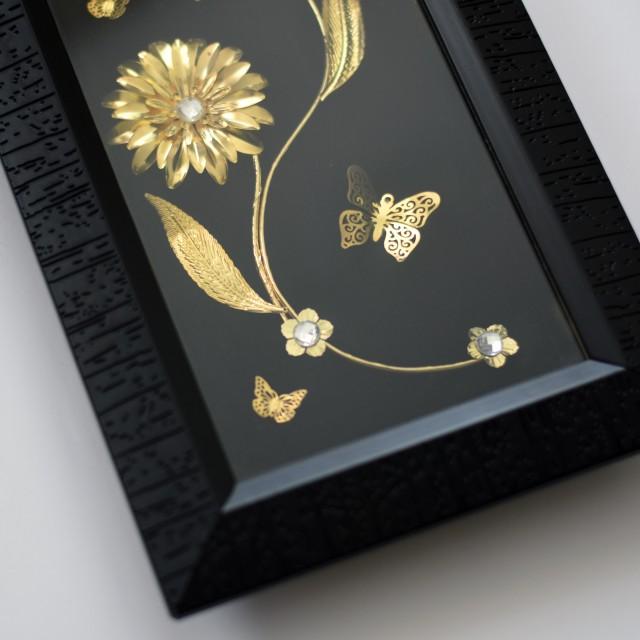 تابلو کلاسیک گل و پروانه
