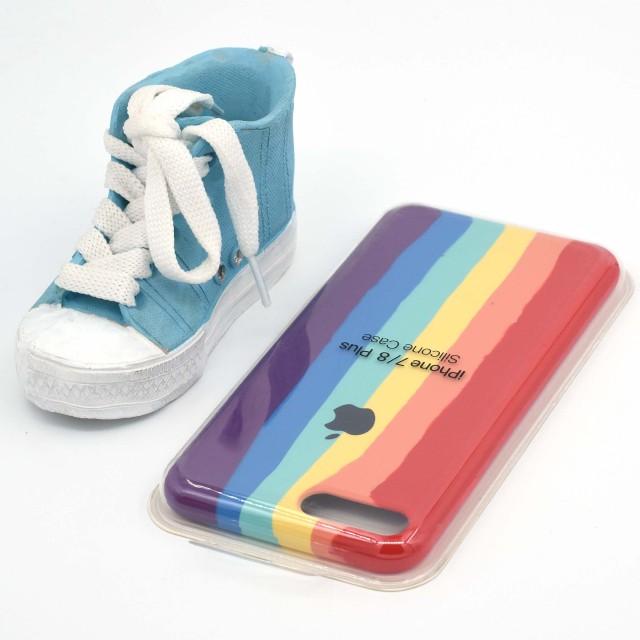 قاب گوشی اپل iPhone 7/8 Plus سیلیکونی رنگین کمانی زیر باز مدل Rainbow-02