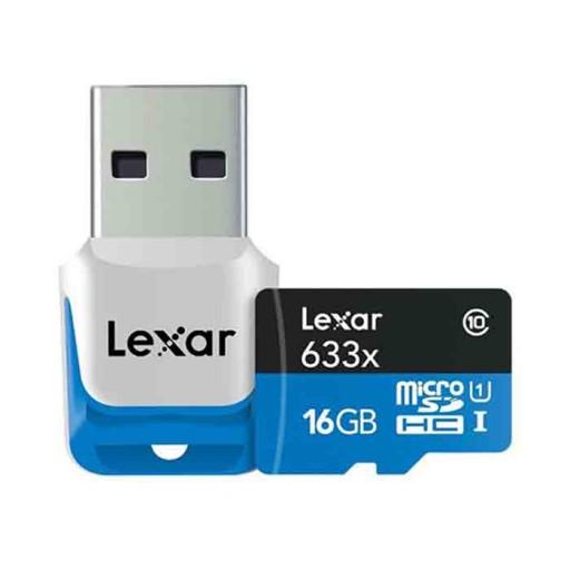 کارت حافظه لکسار مدل SDHC UHS-1 High Performance 633X کلاس10 همراه با ریدر USB 3.0- ظرفیت 16 گیگابایت