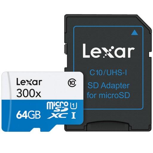 کارت حافظه لکسار مدل SDHC کلاس10 همراه با آداپتور - ظرفیت 64 گیگابایت
