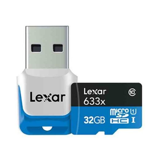 کارت حافظه لکسار مدلClass 10 SDHC UHS-1 High Performance 633X کلاس10 همراه با ریدر USB 3.0- ظرفیت 32 گیگابایت