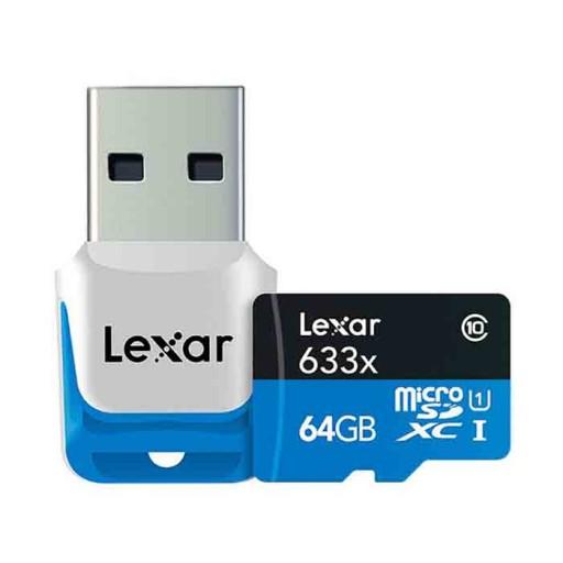 کارت حافظه لکسار مدلClass 10 SDHC UHS-1 High Performance 633X کلاس10 همراه با ریدر USB 3.0- ظرفیت 64 گیگابایت