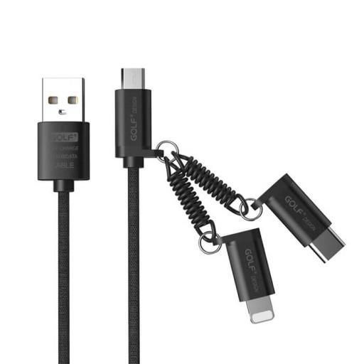 کابل شارژ USB به لایتنینگ/ USB-C/ MicroUSB گلف GC-51 طول 1 متر
