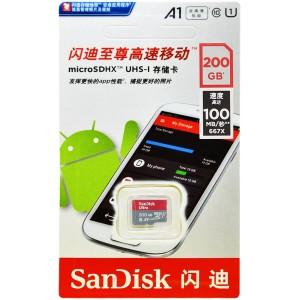 کارت حافظه سن دیسک Ultra A1 microSDXC UHS-I 100MB/s کلاس 10 ظرفیت 200 گیگابایت