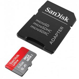 کارت حافظه سن دیسک مدل Ultra A1 کلاس 10 استاندارد UHS-I ظرفیت 64 گیگابایت به همراه آداپتور SD