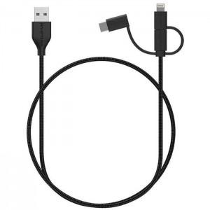 کابل تبدیل USB به لایتنینگ/ USB-C/ microUSB راو پاور RP-CB021 طول 1 متر
