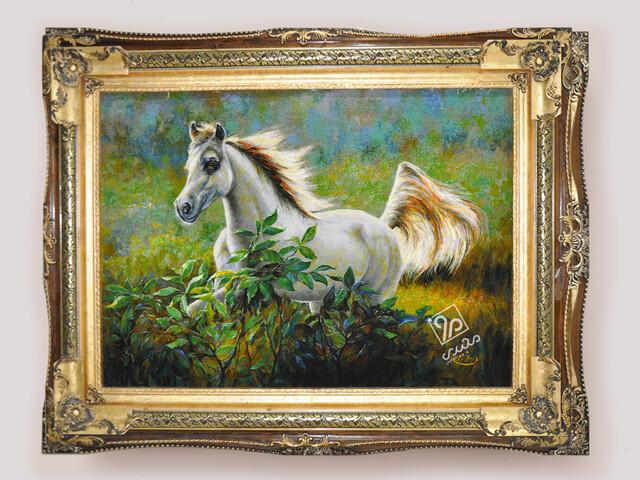 تابلوفرش اسب سفید
