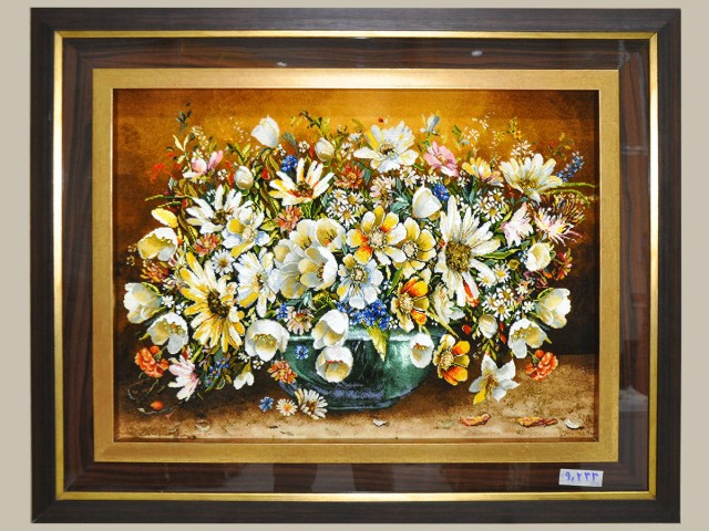 تابلو فرش  گل گلدان شیشه ای