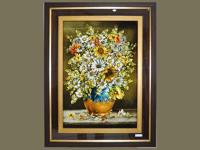 تابلو فرش گل آفتابگردان گلدان سفالی